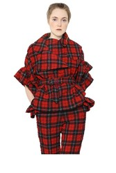 Simone Rocha Plaid Wool Blend Seersucker Jacket