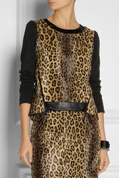 Milly Cheetah Print Faux Fur Top Intl Shipping