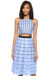 Tibi Raffia Patchwork Crop Top