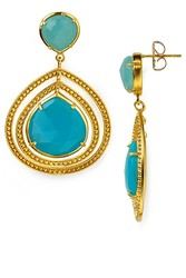 Coralia Leets Double Large Frame Pale Blue Chalcedony and Gold Earrings