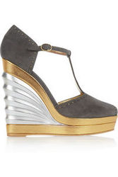 Yves Saint Laurent Suede And Leather T Bar Wedges Intl Shipping
