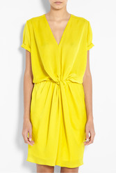Yellow Twist Waist V Neck Dress by Carven