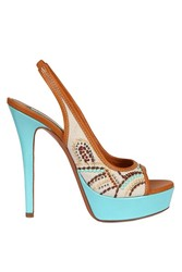 Lerre 130mm Embroidered Canvas Patent Sandal