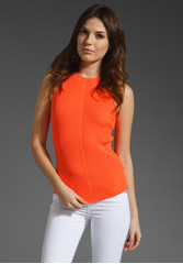 MCQ by Alexander McQueen Racer Tank in Neon Orange