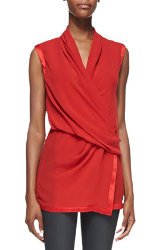Helmut Lang Pebbled Satin Trim Draped Top