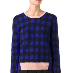 Sonia By Sonia Rykiel Contrasting Neck And Hem Check Pattern Sweater