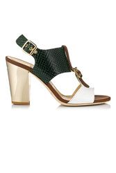 Jimmy Choo Marana Green White and Pallisander Snake Print and Vachetta Leather Sandals