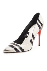 Alexander McQueen Snakeskin Point Toe Pump Black White