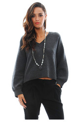 Rib Detail Crop Sweater in Charcoal