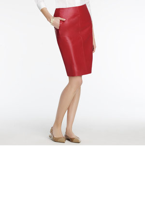 Anne Klein Slim Leather skirt Red