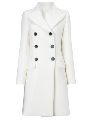 Isabel Marant Etoile Ivory Double Breasted Wool Blend Coat