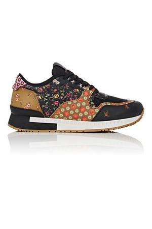 Givenchy Mens Floral Print Leather Mesh Sneakers