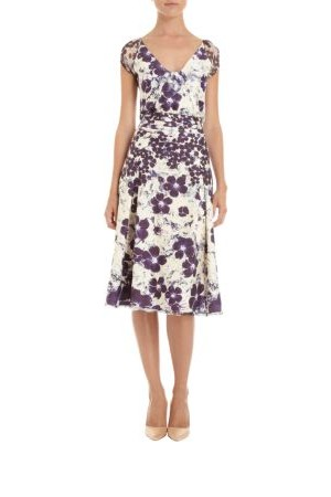 Zac Posen Floral Print V Neck Dress Ivory Purple