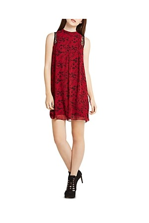 BCBGeneration Lace Detail Floral Print Dress