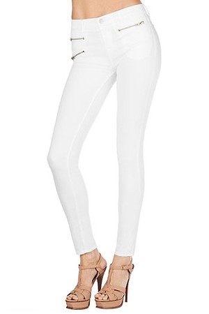 J Brand 855 Zoey Zip Skinny in White