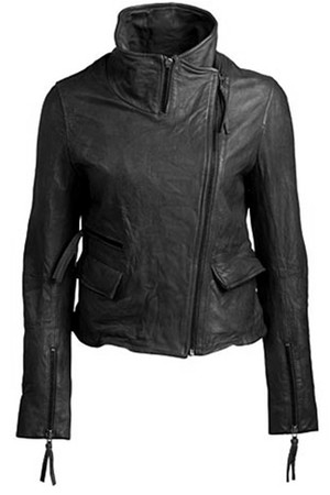 Muubaa Sessile Funnel Biker Jacket in Black
