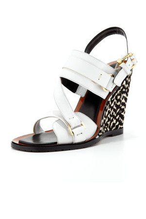 Derek Lam Gillis Calf Hair Wedge Sandal White Black