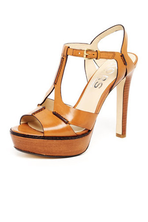 KORS Michael Kors Brookton Leather Cutout T Strap Sandal