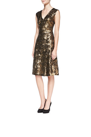 Sleeveless Sequined Lace Back Cocktail Dress