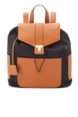 Tory Burch Penn Nylon Leather Backpack Black Tan