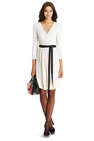 Diane von Furstenberg DVF Seduction Wool and Lace Wrap Dress