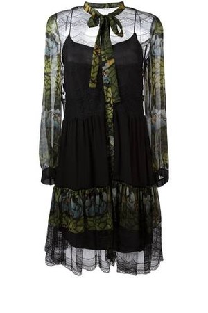 Alberta Ferretti Floral Print Sheer Dress