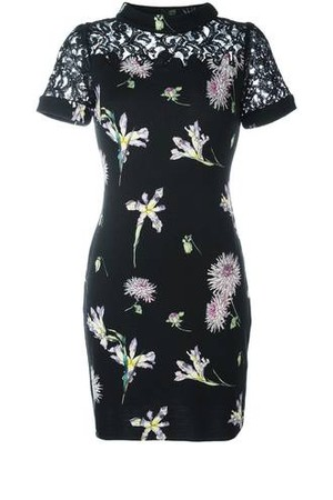 Blumarine Floral Print Lace Dress