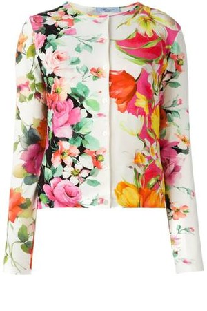 Blumarine Floral Print Twinset Cardigan And Vest