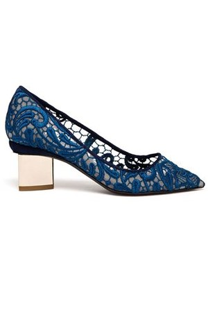 Nicholas Kirkwood Lace Embroidered Block Heel Pumps