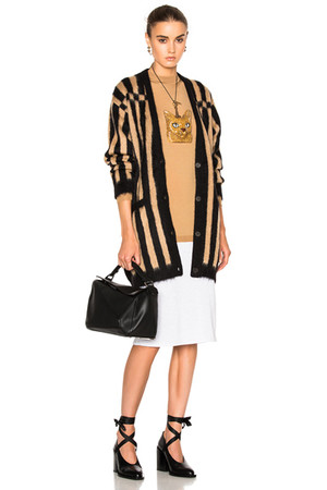 Loewe Bicolor Cardigan in Black Neutrals Stripes