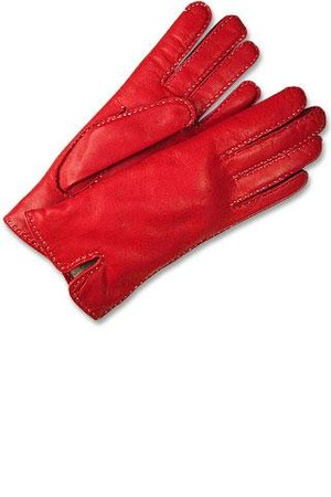 Forzieri Womens Stitched Silk Lined Red Italian Leather Gloves