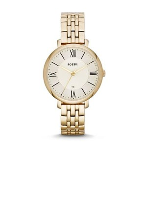 Fossil Jacqueline Three Hand Stainless Steel Watch Gold Tone Es3434 Gold
