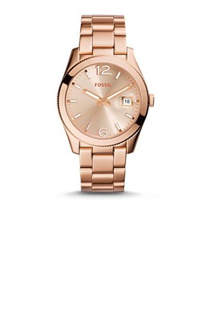 Fossil Perfect Boyfriend Three Hand Date Stainless Steel Watch Rose Es3587