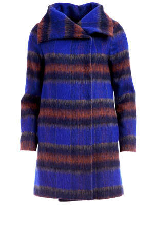 French Connection Red And Blue Plaid Oversized Furry Coat