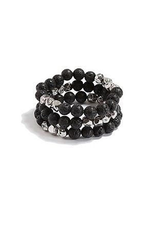 Black and Silver Tone 3 Piece Bracelet Set