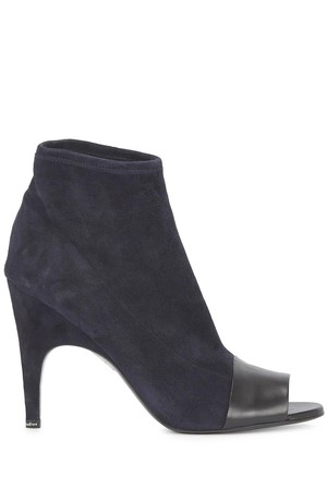 Acne Studios Vova navy suede peep toe ankle boots