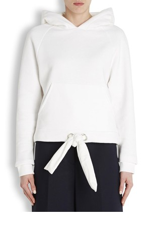 Acne Studios White hooded jersey sweatshirt