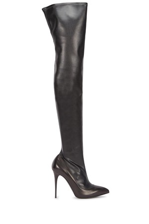 Alexander McQueen Black leather thigh boots