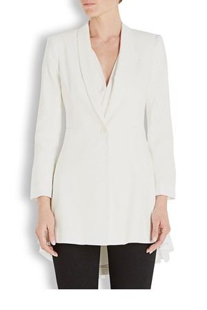 Alice and Olivia Selene white linen blend blazer