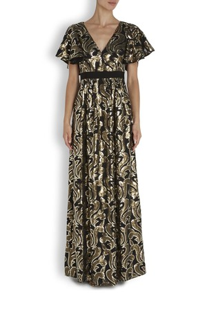 ALICE by Temperley Phoenix sequinned black satin maxi dress