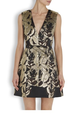 Alice Olivia Pacey metallic brocade dress