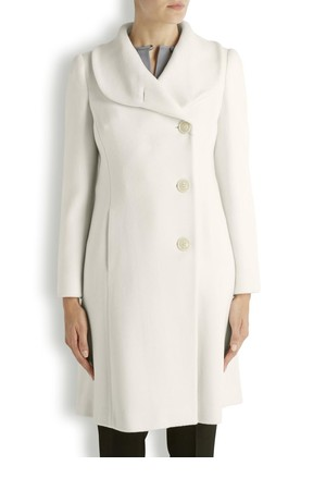 Armani Collezioni White wool single breasted coat