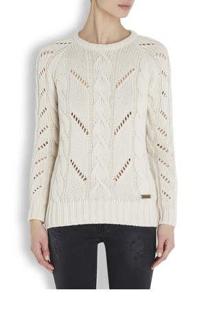 Barbour Ingram cream cable knit wool blend jumper