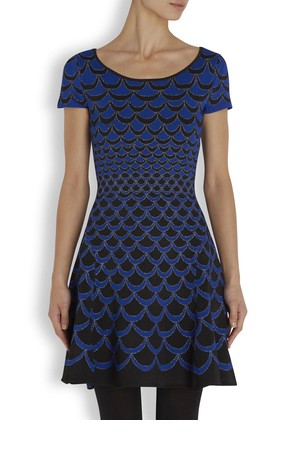 Diane von Furstenberg Blue scalloped jersey dress