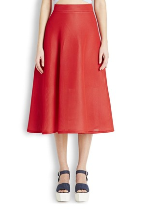 DKNY Red neoprene mesh midi skirt