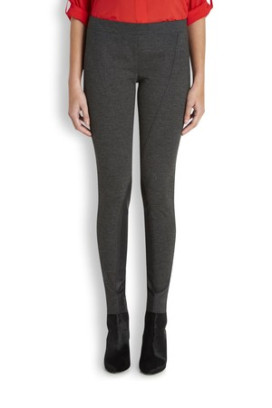 DKNYPURE Charcoal leather panelled leggings