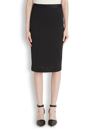 Elizabeth and James Aeon black neoprene pencil skirt