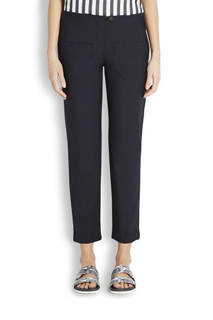 Harvey Faircloth Navy cropped wool trousers