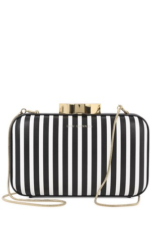 Lulu Guinness Fifi black and white leather clutch