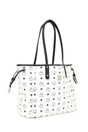 MCM White medium reversible leather tote